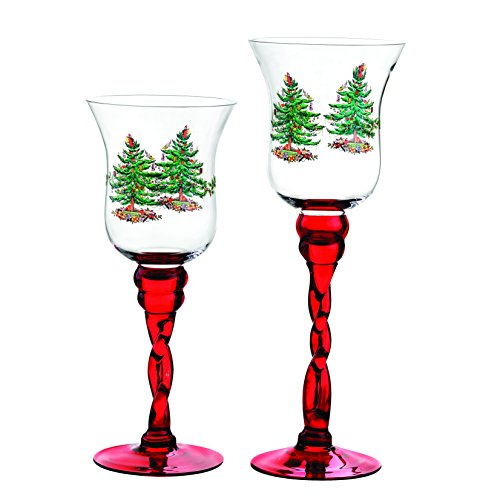 Spode Christmas Tree Glass Fluted Red Footed Candle Holders, Set of 2 by Spode Spode Christmas Tree Glass