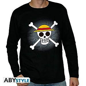 ABYstyle - Camiseta de Manga Corta (Talla XL), diseño de Calavera con Mapa, Color Negro