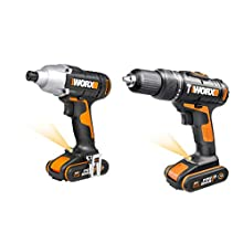 WORX WX938 Lithium-Ion Impact Driver and Hammer Drill Twin Pack, 20 V, Black