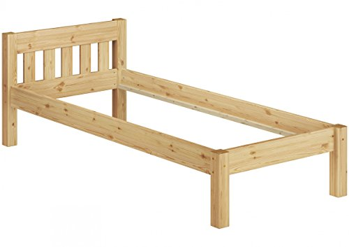 Erst-Holz® Kieferbett Natur Einzelbett 90x200 Massivholz-Bettgestell Futonbett ohne Rollrost 60.38-09 oR -