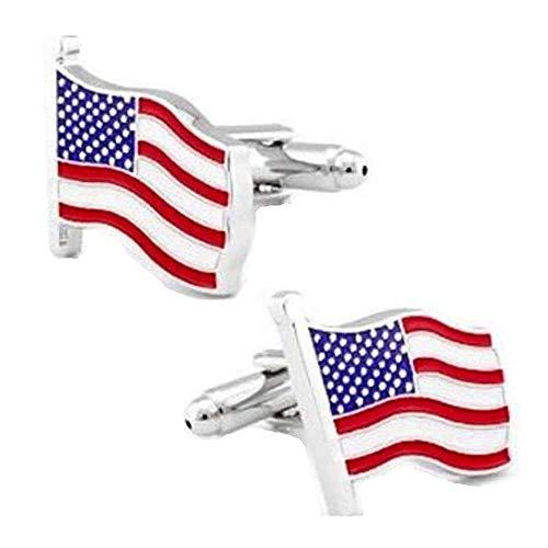 Korpikus® ' Drapeau USA ' étoiles & rayures thème inox boutons de manchettes en sac-cadeau gratuit