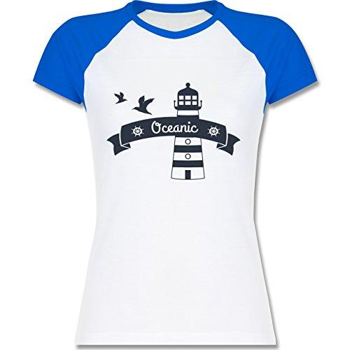 Schiffe - Oceanic Segeln Leuchtturm - zweifarbiges Baseballshirt / Raglan T-Shirt für Damen Weiß/Royalblau
