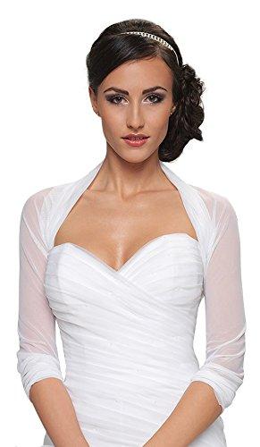 Damen Braut Bolero Brautkleid Chiffon / Stretch - B70 (L/XL, weiß)