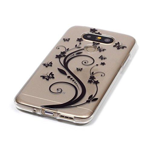 Fatcatparadise - Cover per iPhone 5, iPhone 5S, iPhone SE, [con pellicola salvaschermo in vetro temperato], antigraffio, trasparente, in silicone morbido, design a motivi colorati, in TPU ultra sottil Black butterful