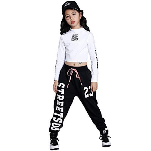 Kostüm Dance Street - Kinder Mädchen Hip Hop Jazz Dance Kostüm Street Dance Kleidung Set (Weiß, 146-152)