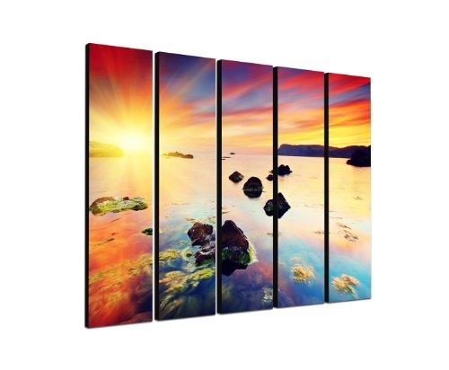 Abendsonne am Meer 5x30x120cm XXL extra großes 5-teiliges Wandbild auf Leinwand und Keilrahmen fertig zum aufhängen – Unsere Bilder auf Leinwand bestechen durch ihre ungewöhnlichen Formate und den extrem detaillierten Druck aus bis zu 100 Megapixel hoch aufgelösten Fotos.