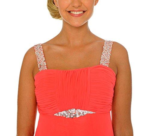 Astrapahl Damen Cocktail Kleid mit Pailletten, Maxi Rosa (Koralle)