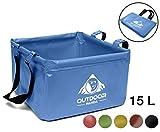 Outdoor Faltschüssel 15 Liter   Faltbare Camping Waschschüssel aus langlebigem Planen Gewebe  Platzsparende und leichte Alternative zur Plastik Spülschüssel und Spülwanne