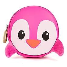 boppi Tiny Trekker Portamonete portachiavi da viaggio piccolo borsellino da viaggio borsetta portachiavi con zip - Pinguino Rosa