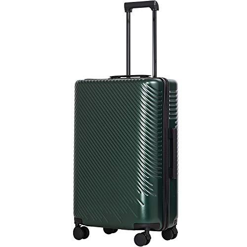 COOLIFE COOLIFE Mode-Business-Koffer Reisekoffer PC+ABS Material mit TSA-Schloss und 4 Rollen Handgepäck Mittelgroßer Großer Koffer (Dunkelgrün, Großer Koffer)