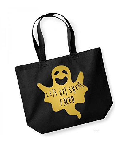 Let's Get Sheet Faced - Large Canvas Fun Slogan Tote Bag Black/Gold