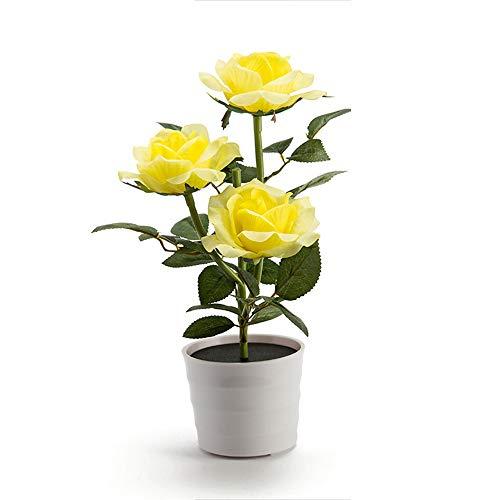 FeiliandaJJ Solar Rose Blume Lichter Künstliche RoseTopfblume Bonsai LED Licht Kinder Nachtlicht Innen Muttertag Geschenk Haus Deko (Gelb)