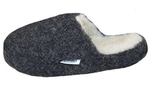 SamWo, Schafwoll-Wohlfühl-Hausschuhe/Pantoffeln,weiche rutschfeste Sohle,100% Schafwolle, Größe: 47-48 sw