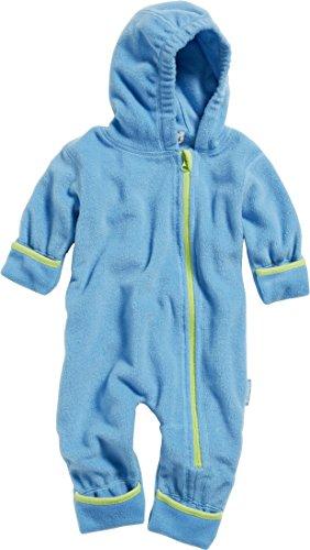 Playshoes Unisex Baby Fleece-Overall Farblich Abgesetzt, Blau (Aquablau 23), 68