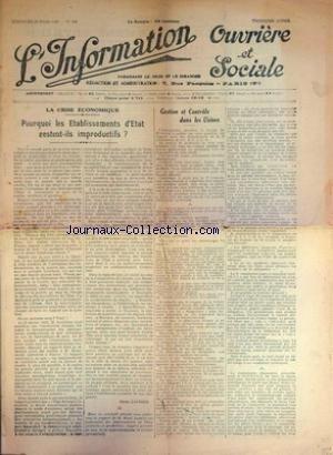 INFORMATION OUVRIERE ET SOCIALE [No 206] du 31/12/2099 - LA CRISE ECONOMIQUE - GESTION ET CONTROLE DANS LES USINES - HENRI LAUDIER.