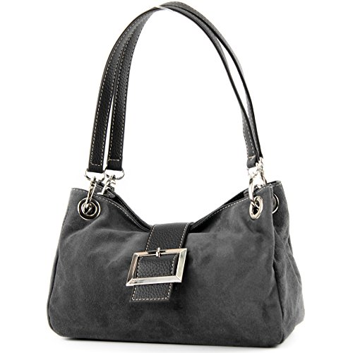 ital. Mesdames sac à main fourre-tout Satchel sac en cuir suède Petit TL02, Präzise Farbe (nur Farbe):Dunkelgrau