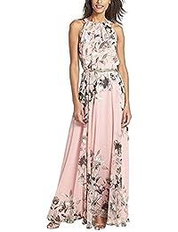 Donna Vestiti Lunghi Eleganti Estivi Senza Maniche In Chiffon Abito Con  Cinghie Stampato Floreale Vintage Cerimonia fa343f5bb60