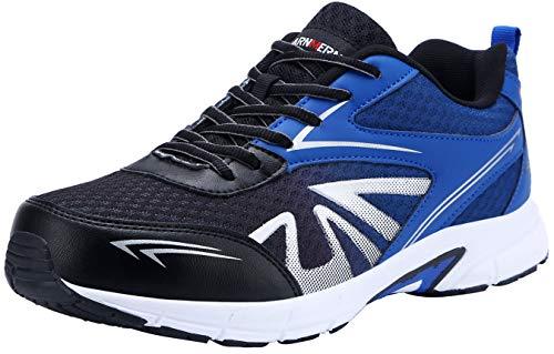 LARNMERN Stahlkappe Sicherheitsschuhe, Herren luftdurchlässige Leichte Anti-Smashing Schuhe Industrie und Handwerk (45 EU, Schwarz)