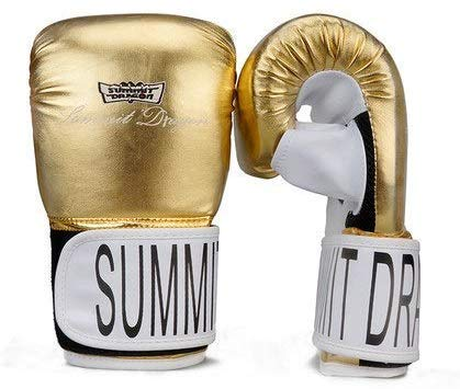 NMDD Erwachsene Sanda Handschuhe Half Finger Boxing Gelbe Linie Dew Thumbs Punch Bag Handschuhe Arbeitshandschuhe (Farbe: Gold, Größe: L)