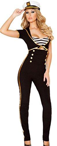 Sexy Helloween Kostüme (Lukis 3pc Damen Schwarz Marine Uniform Helloween Karneval Kostüm)