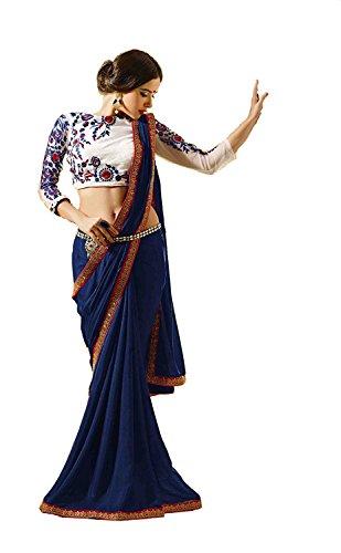 saree center Navy blue for women party wear offer designer latest design...