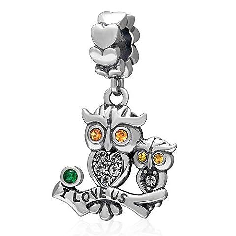 soulbead I Love uns Eule Anhänger österreichische Crystal Eye Charm 925Sterling Silber Animal Bead Für Heimwerker European Armband oder Halskette Topaz Crystal