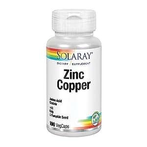 Solaray - Zinc Copper, 50mg / 2mg, 100 capsules