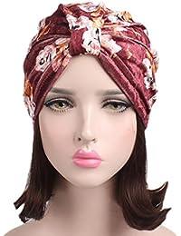 6f2cecc4676 Dinglong Grosses Soldes 2018 D éTé Femmes Floral Velours Turban Chapeau  Inde Musulman Stretch Beanie
