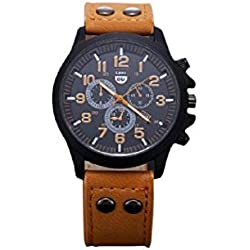 HARRYSTORE Mens Sport Quartz Army Watch Vintage Classic Waterproof Date Wrist Watch with Leather Strap