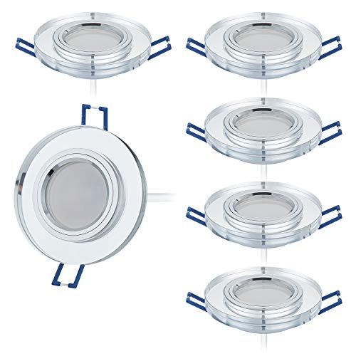 Lot de 6 spots LED encastrables en verre avec spot LED 230 V I 5 W 430 lm I Blanc chaud 3000 K I 120 ° Angle d'éclairage I Intensité variable I 60 mm Trou encastré