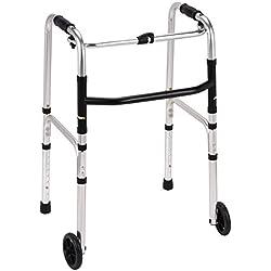 Plegable ligero andador de aluminio caminar walker con 2 ruedas