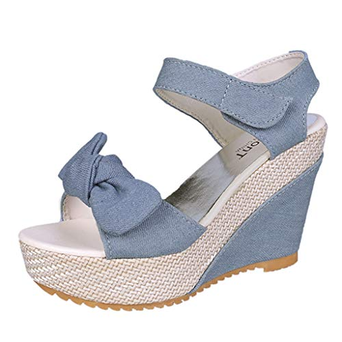 NMERWT Frauen High Heel Rom Keilsandaletten mit hohen Absätzen Hanfseil Denim Sandalen Damen Bow Wedge Thick Bottom Peep Toe Sandalen Pumps -