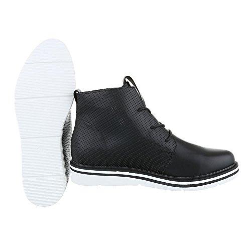 Schnürboots Damenschuhe Combat Boots Perforierte Schnürsenkel Ital-Design Stiefeletten Schwarz