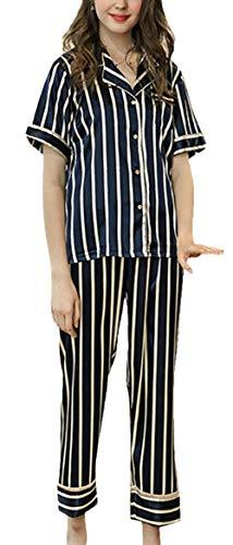 Seide Damen Kurzarm-schlafanzug (Schlafanzüge Damen Mode Elegant Bequem Kurzarm Seide Pyjama Weiches Revers Festlich Bekleidung Gedruckt Atmungsaktiv Loose Lässig Sleepwear Nightwear Sommer (Color : Navy Blue, Size : M))