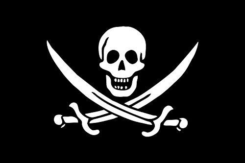 Etaia 7x10 cm - Auto Aufkleber Fahne/Flagge Pirat Totenkopf Skull Jolly Roger Sticker Motorrad Bike Biker -