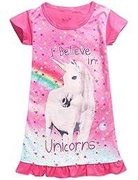 65fcc60a371 Enfant Fille Chemise de Nuit Licorne Imprimé Arc-en-Ciel Manche Courte  Pyjamas Robe