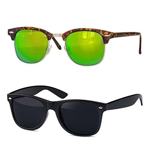 Retro Sonnenbrille Clubmaster clubma Vintage Sonnenbrille (2er Set | Clubmaster leo-grün verspiegelt + Wayfarer schwarz)