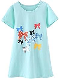 Kleine Mädchen Blumendruck Nachthemden Kurzarm Sommer Pyjamas Cute Sleep Kleider Weiß/Gelb/Lila/Pink/Grau/Blau/Grün