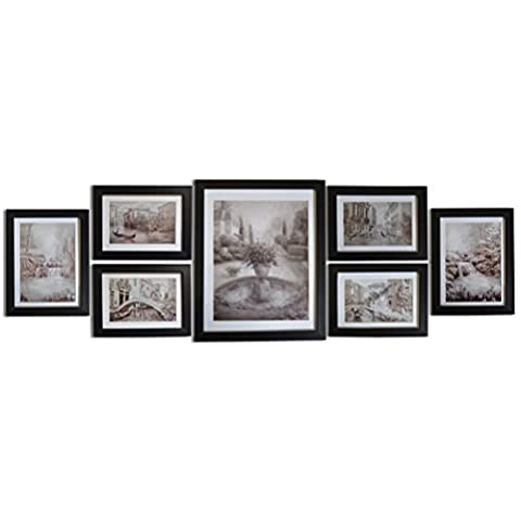 Giftgarden Multi Picture Photo Frame Frames Wall Set 7 Pieces for Home Accessories , one 8x10, two 5x7, four 6x4
