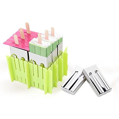 Baffect Edelstahl Popsicle Form mit Kunststoff Stick Holder DIY Eiscreme Form von 6 (flach)