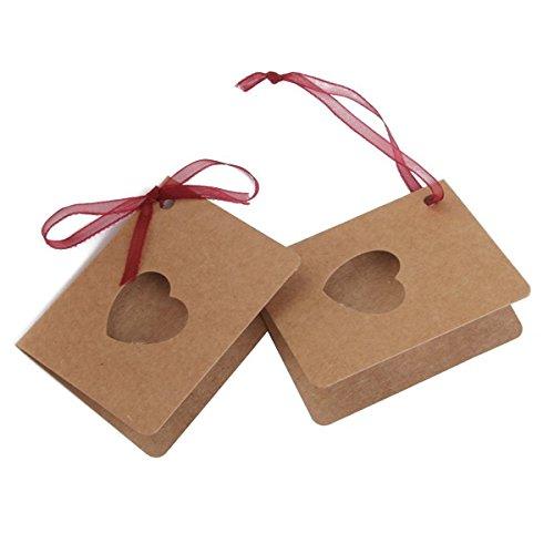 WINOMO 50pcs Karte Tag Kraftpapier Hang-Tag mit roten Seil hohle Herz Form Lable für Hochzeit Geburtstag Dekoration