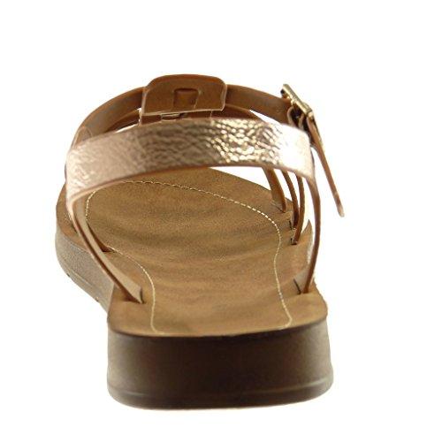 Angkorly Chaussure Mode Sandale Lanière Cheville Spartiates Salomés Femme Grainé Multi-Bride Talon Plat 2 cm Champagne