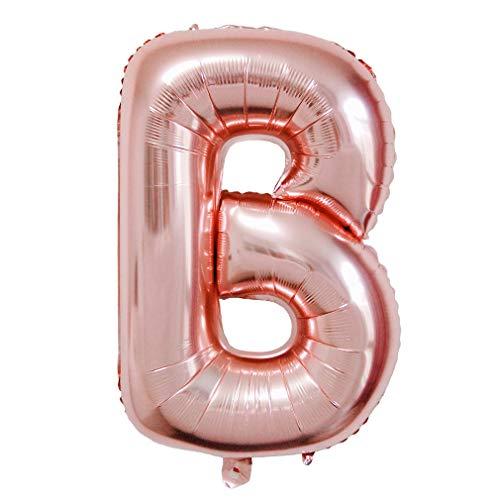 Glanzzeit 85 cm Roségold Deko Luftballons Zahlen 0 bis 9 Buchstaben A bis Z Heliumballons Babyparty Brautparty Hochzeit Geburtstag Party Dekoration Folienballons (Buchstabe B)