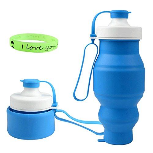 Faltbare Trinkflasche 520ml (18oz), Zimingu Medizinisches Silikon Wasserflasche Tragbare und Auslaufsichere Sportflasche für Outdoor, Reisen, Radfahren, Wandern, Camping und Picknick - BPA Frei, FDA LFGB zertifiziert (blau)