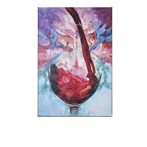 RALCAN Handgemaltes Modernes Abstraktes Ölgemälde Auf Leinwand Traube Rotwein Bild Wanddekoration Für Esszimmer Wanddekor Kunst-100X180cm(40X72Inch)