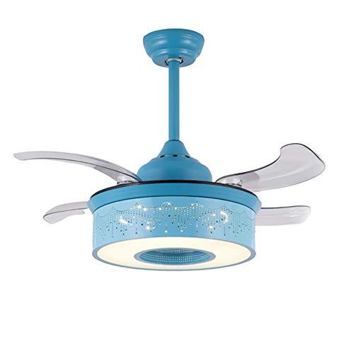 WWLONG Kinderzimmer Deckenventilator Licht 36 Zoll / 42 Zoll Jungen und Mädchen Schlafzimmer Ventilator Licht mit Licht Deckenventilator führte unsichtbaren Lüfter Kronleuchter-blue-107CM -