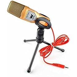 WOXTER Mic Studio Golden - Micrófono condensador profesional para ordenador , grabar, jugar, conversar o cantar por internet ( Entrada: 3.5mm, trípode ajustable en inclinación vertical y horizontal, color dorado