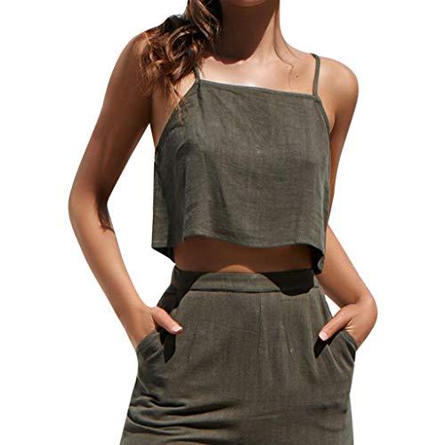 WooCo Damen Camisole Tops Deals! Damen Teen Girls Sexy Weste Seitlicher Reißverschluss Shirts Lässig Einfache Bluse Verstellbare Träger(Armeegrün,EU 36/Asia - Einfach Tank Girl Kostüm