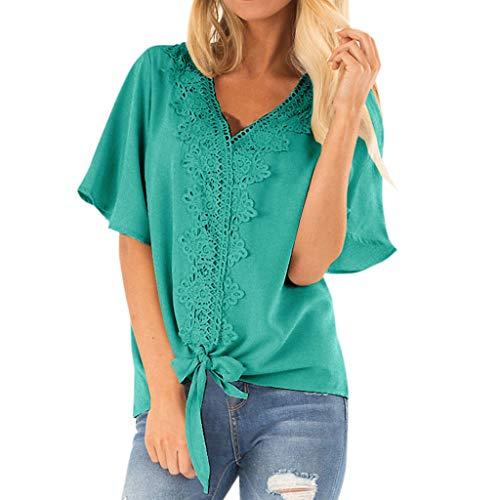 Pullover Sweatshirt für Damen,Kobay 2019 Halloween Heiligabend Weihnachten Frauen Sommer Kurzarm Flare Sleeve Bow Bluse Casual T Shirt Bluse Tops Sweater Sleeve Scoop Neck Bow