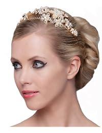 SEXYHER Erstaunlich Tiara mit Blumen und Perlen-Details - SH-DL-C5172